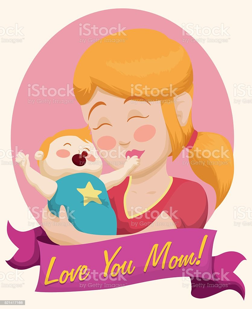 Blonde Mom and Baby with a Ribbon for Mother's Day vector art illustration