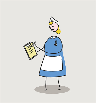 Blonde nurse holding notes