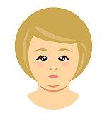 Blonde overweight woman face. Vector