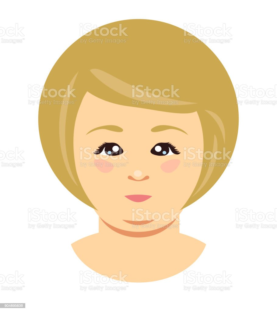 Blonde overweight woman face. Vector vector art illustration