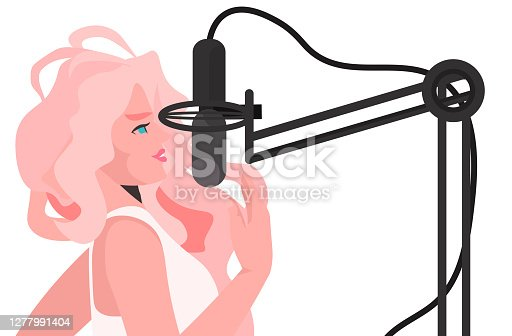 istock blonde woman making online podcast girl talking to microphone at online radio horizontal 1277991404
