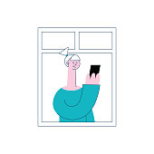 A blonde woman or girl stands at the open window of an apartment, smiles and looks into the smartphone. The concept of neighbors at the window and neighborhood in the city, vector flat illustration.