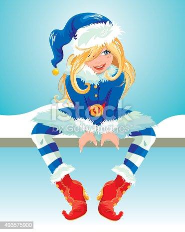istock Blondy girl wearing blue Santa Claus costume. Christmas card. 493575900