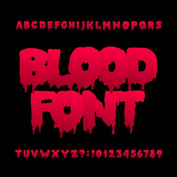 bildbanksillustrationer, clip art samt tecknat material och ikoner med blod alfabetet teckensnitt. handen ritade halloween bokstäver och siffror. - fasa