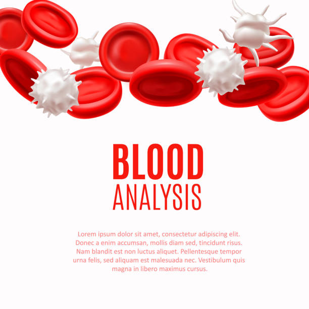 Blood Analysis Concept with Blood Cells in Realistic Style Blood Analysis Concept. Blood Cells Template in Realistic Style for Medical Banners Ads Fliers Posters Web Sites. Vector Illustration white blood cell stock illustrations