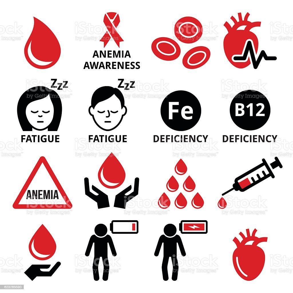 Blood, anemia, human health icons set vector art illustration