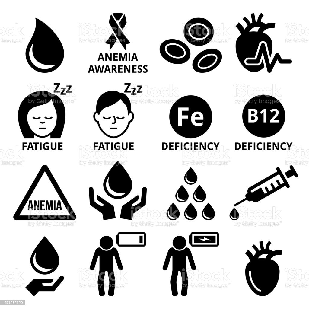 Blood, anemia, human health icons set vector art illustration