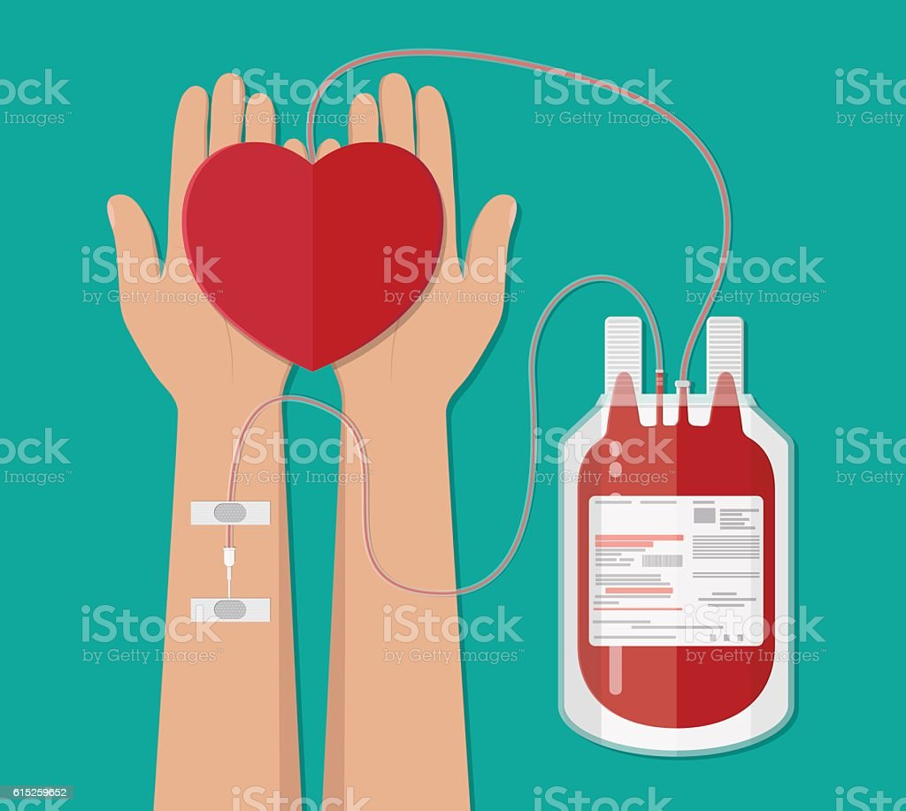 blood bag and hand of donor with heart. donation – Vektorgrafik