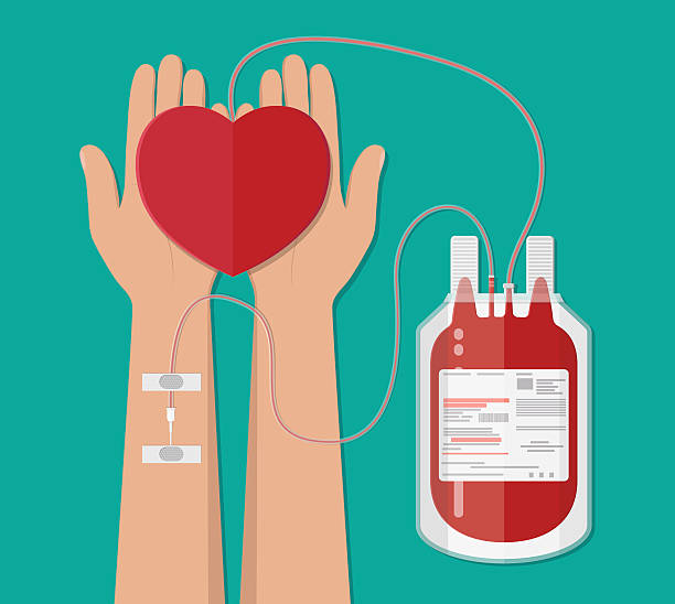blood bag and hand of donor with heart. donation vector art illustration