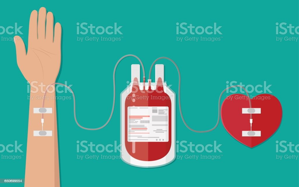 Blood bag and hand of donor with heart vector art illustration