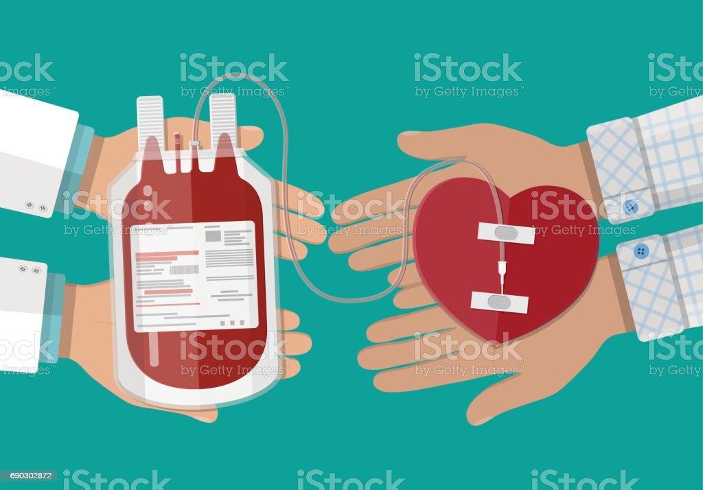 8c15552ead Sac De Sang Et De La Main Du Donneur Avec Coeur Vecteurs libres de ...