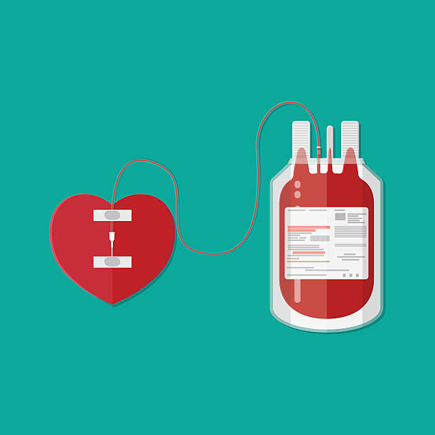 blood bag and heart. donation vector art illustration