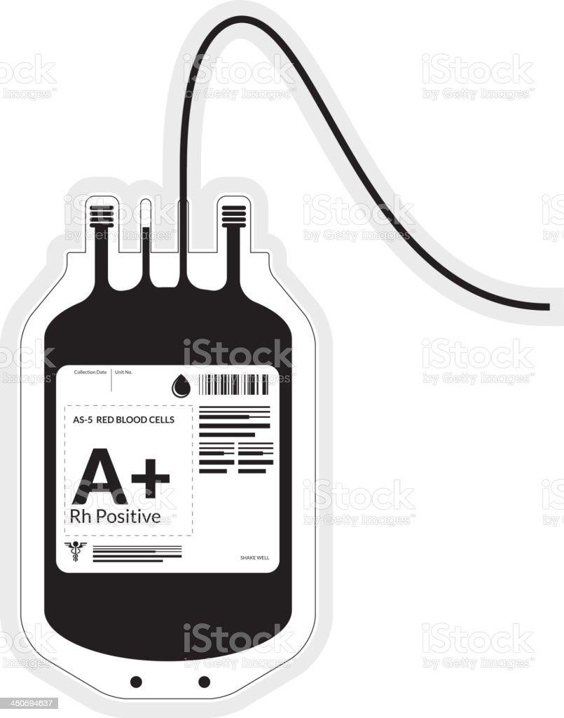 Blood Bag  Black & White vector art illustration