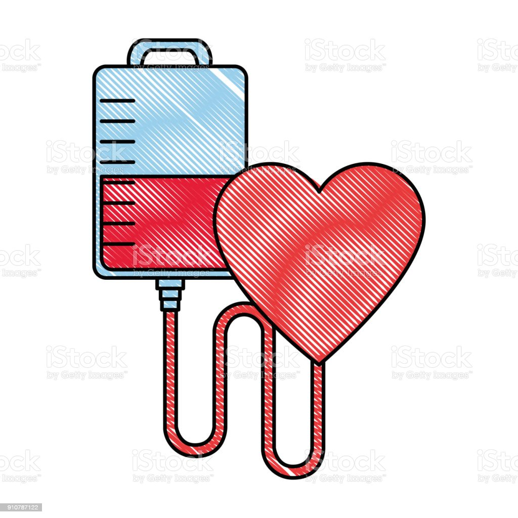 blood bag donation with heart vector art illustration