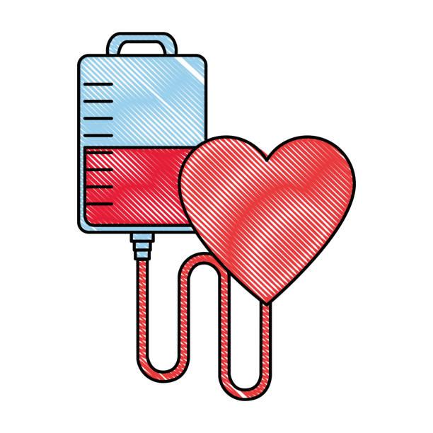 doação de bolsa de sangue com coração - ilustração de arte em vetor