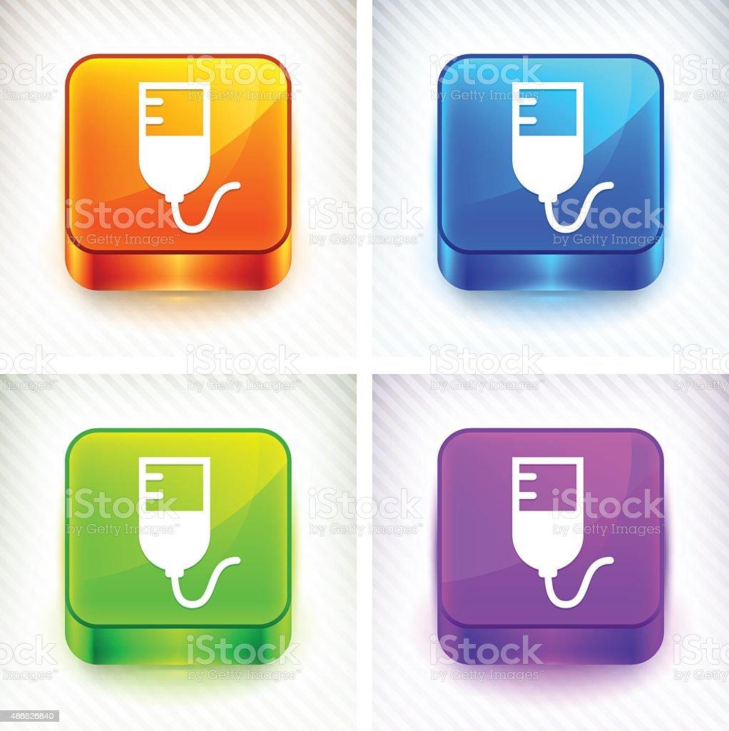 Blood Bag on Color Square Buttons vector art illustration