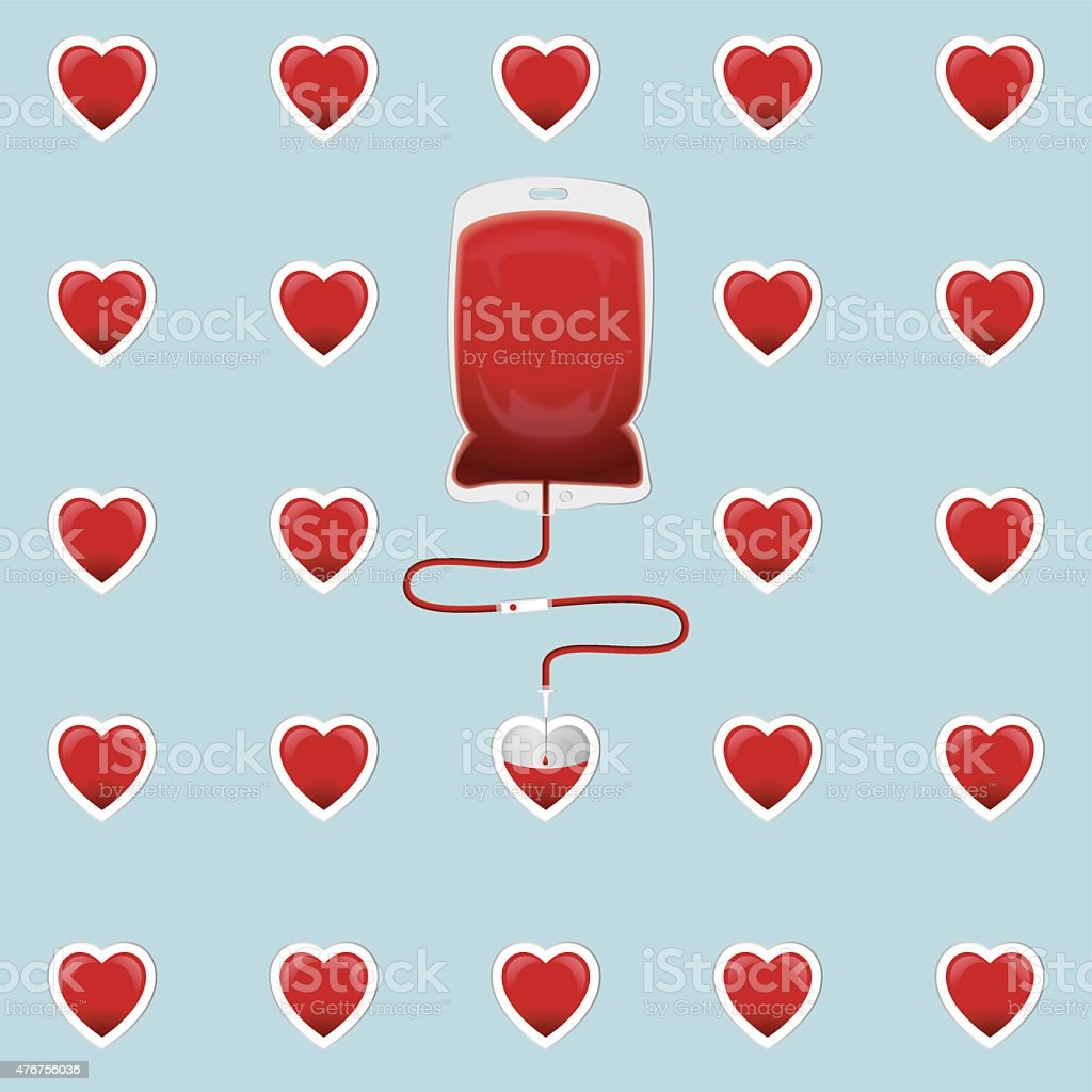 Blood Bag with hearts vector art illustration