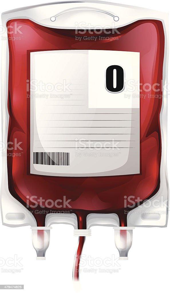 Blood bag with type O blood - 免版稅例行公事圖庫向量圖形