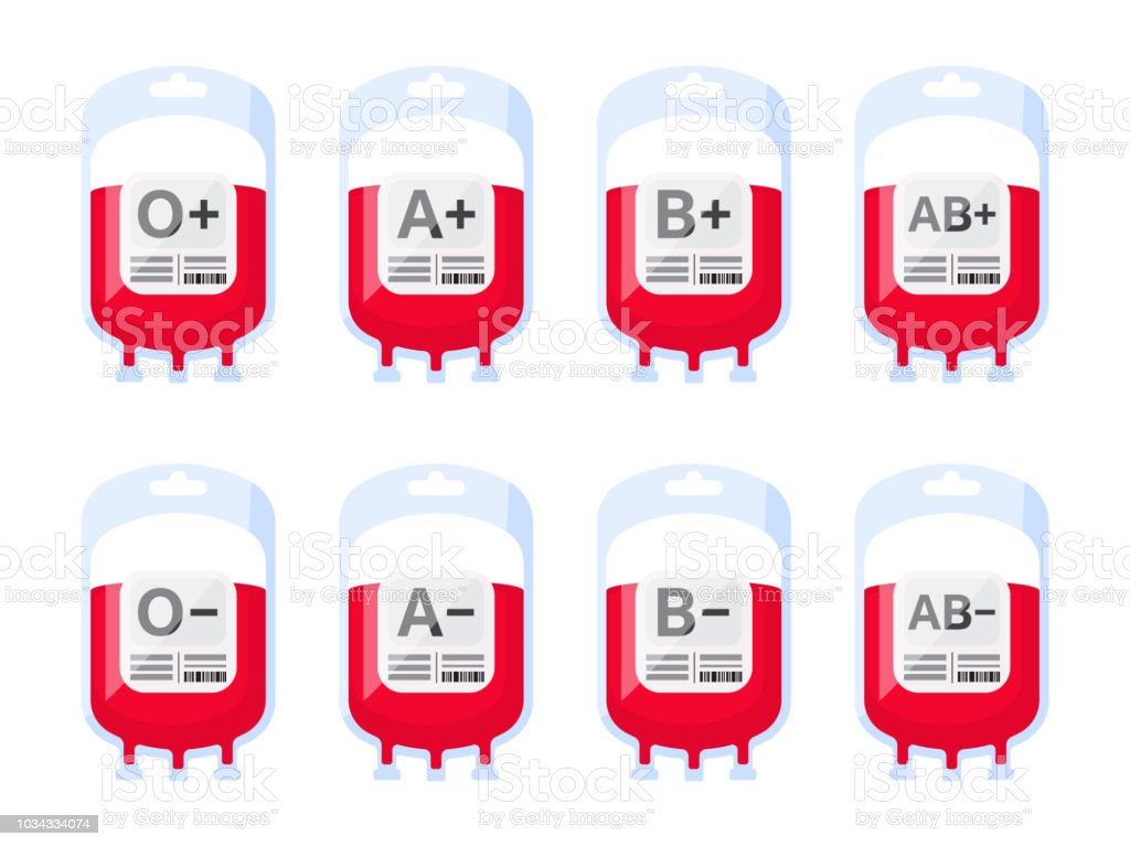 Blood bags with blood types vector illustration. Blood group vector icons isolated on white background. vector art illustration