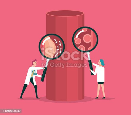 istock Blood cells and blood vessel stock illustration 1185561047