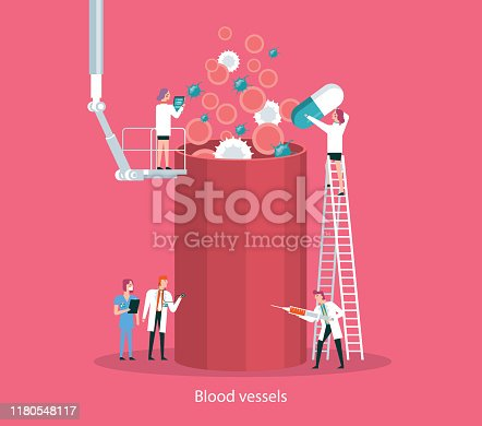 Team of doctors diagnose human blood Vessel