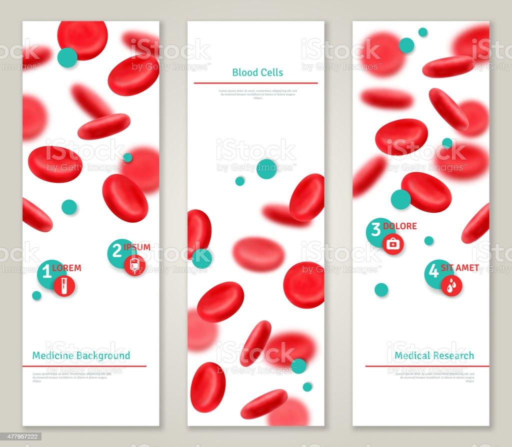 Blood cells. Medical concept banners set. vector art illustration