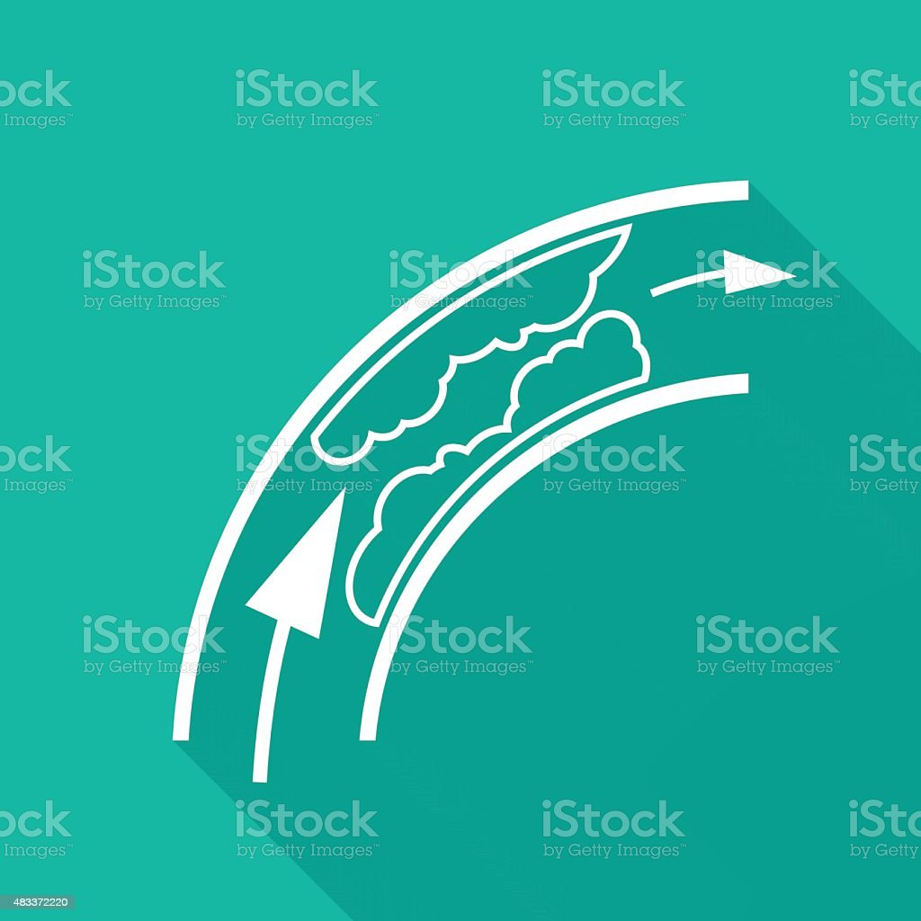Blood Clot, Plaque in Artery Restricting Blood Flow icon vector art illustration