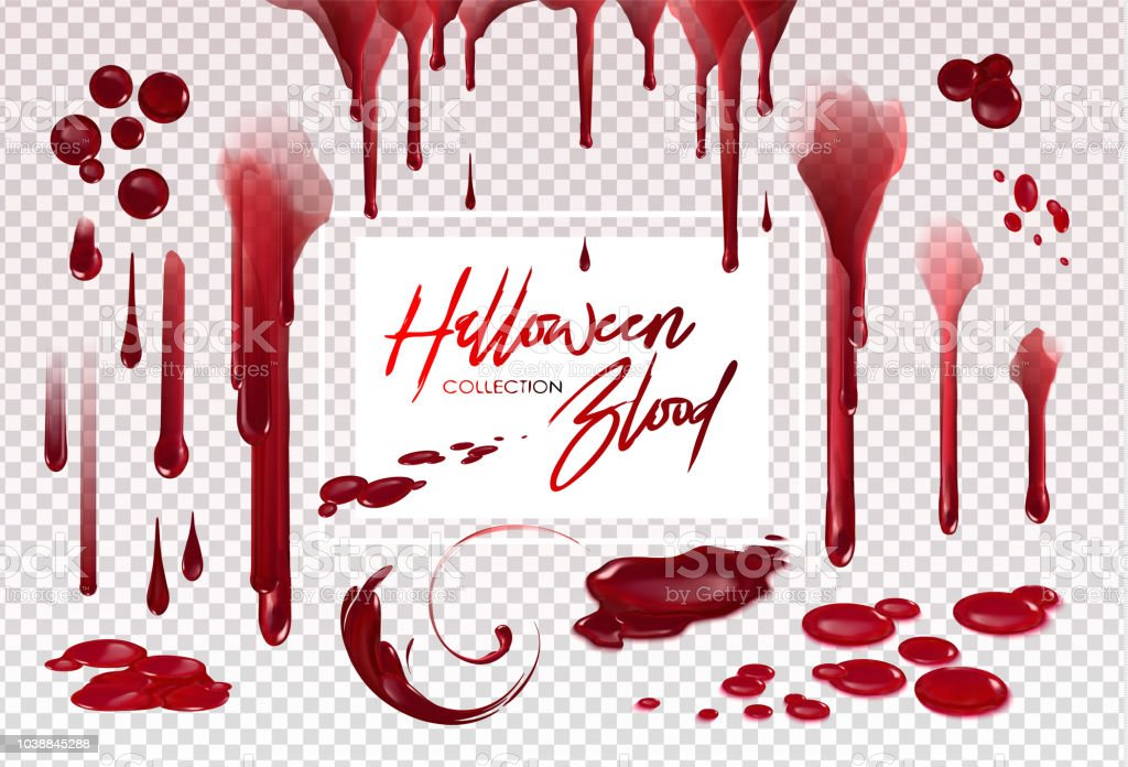 Blood collection, Happy Halloween decoration, Vector bloody horror drop, drip, splatter, creepy splash, spot... vector art illustration