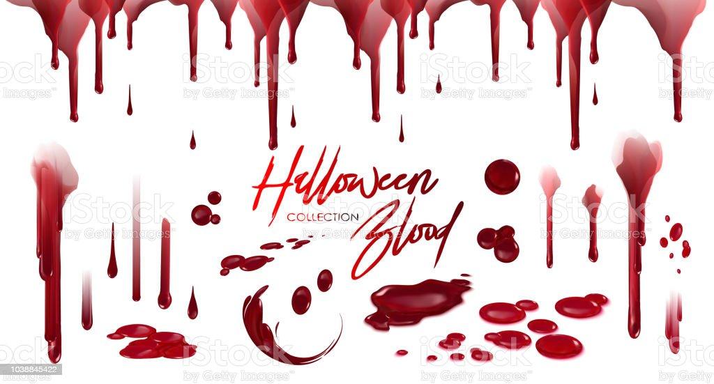 Blutsammlung Happy Halloween Dekoration Vektor Blutigen Horror Tropfen Tropfen Splatter Gruselig Spritzen Vor Ort Stock Vektor Art Und Mehr Bilder Von Angst Istock
