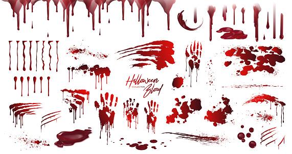 Blood collection, Happy Halloween decoration, Vector bloody horror drop, drip, splatter