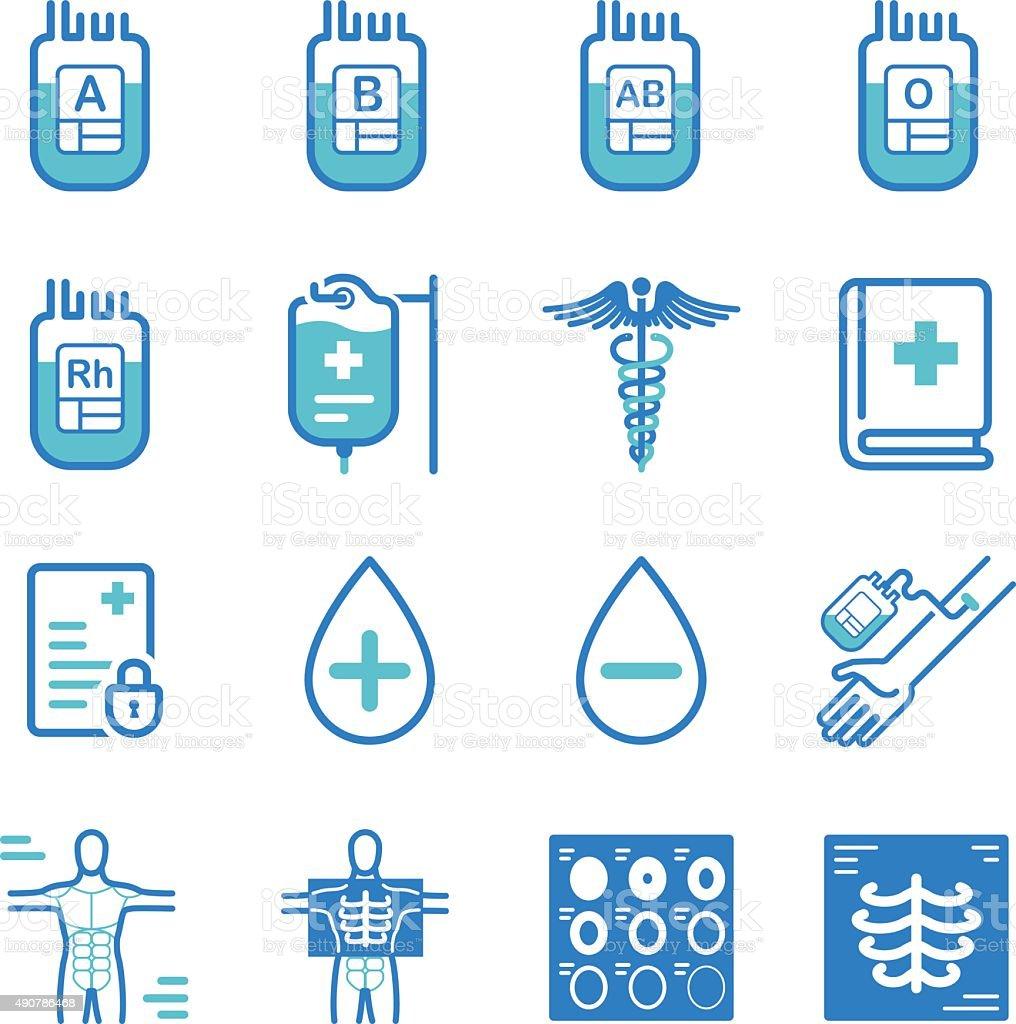 La donación de sangre y de iconos médicos - ilustración de arte vectorial