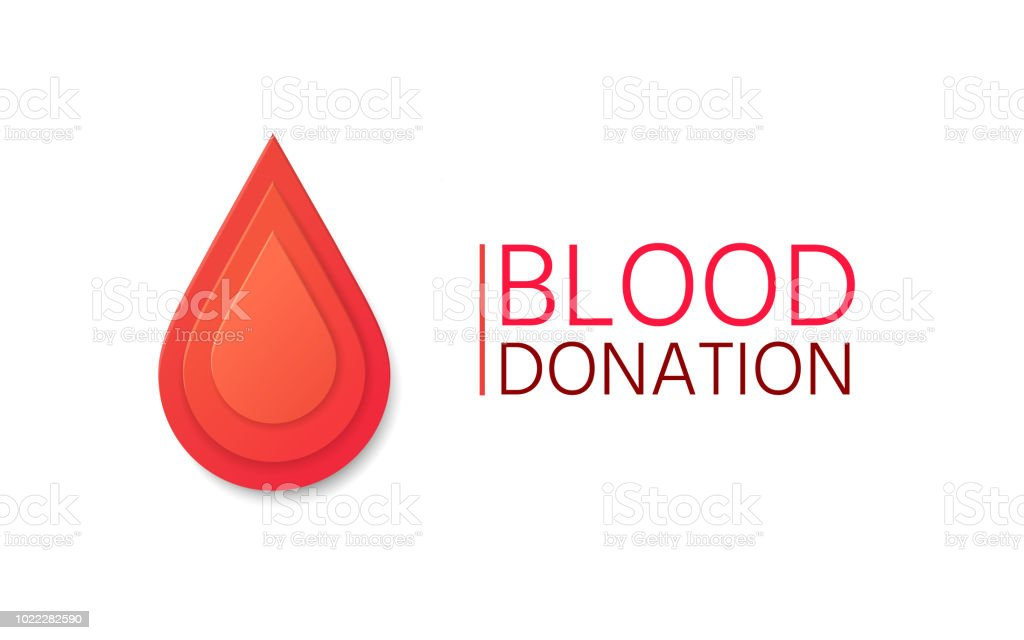Blood Donation background. Blood drop in paper style. vector art illustration