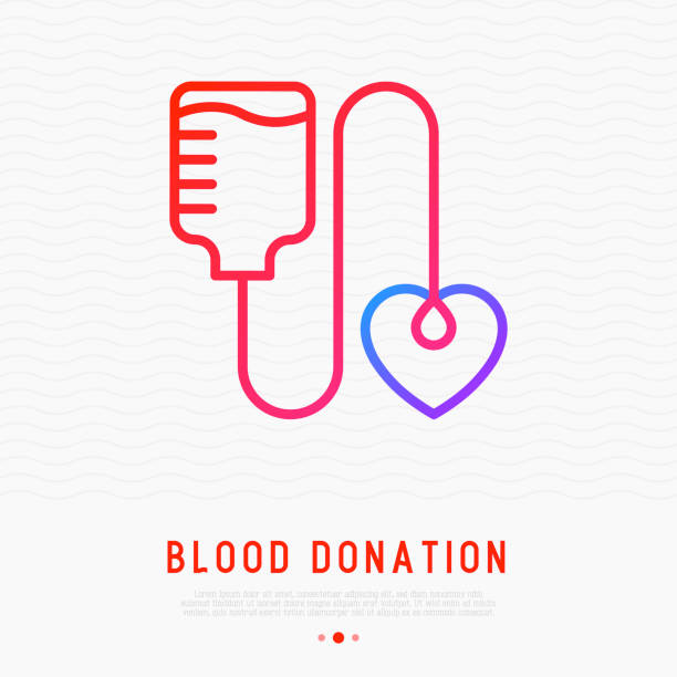 Conceito de doação de sangue: bolsa de sangue com queda em forma de coração. Ícone de linha fina. Ilustração em vetor moderno para o dia mundial do dador. - ilustração de arte em vetor