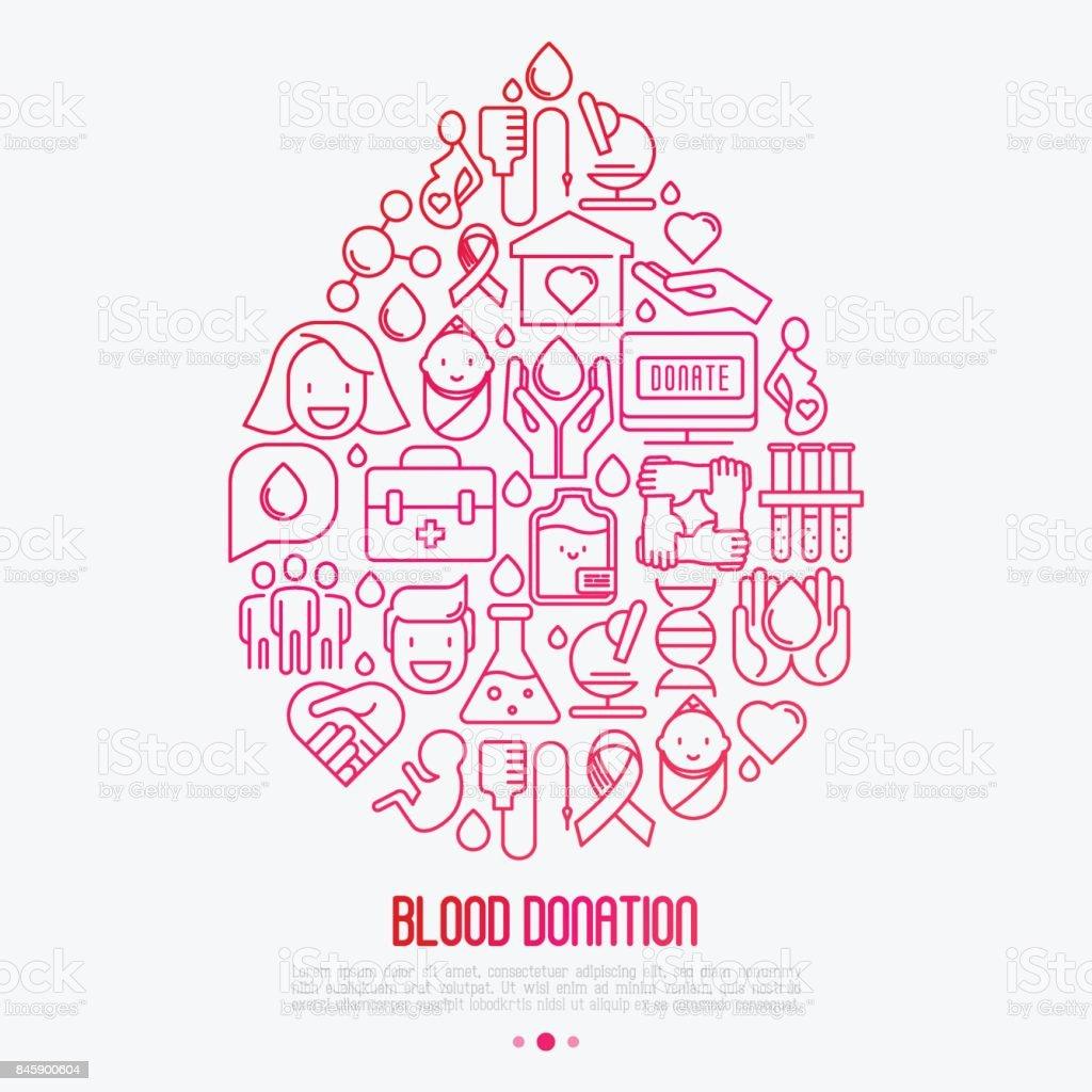Kan Bagisi Kavrami Damla Kan Ince Cizgi Simgeleri Dunya Kan Donor