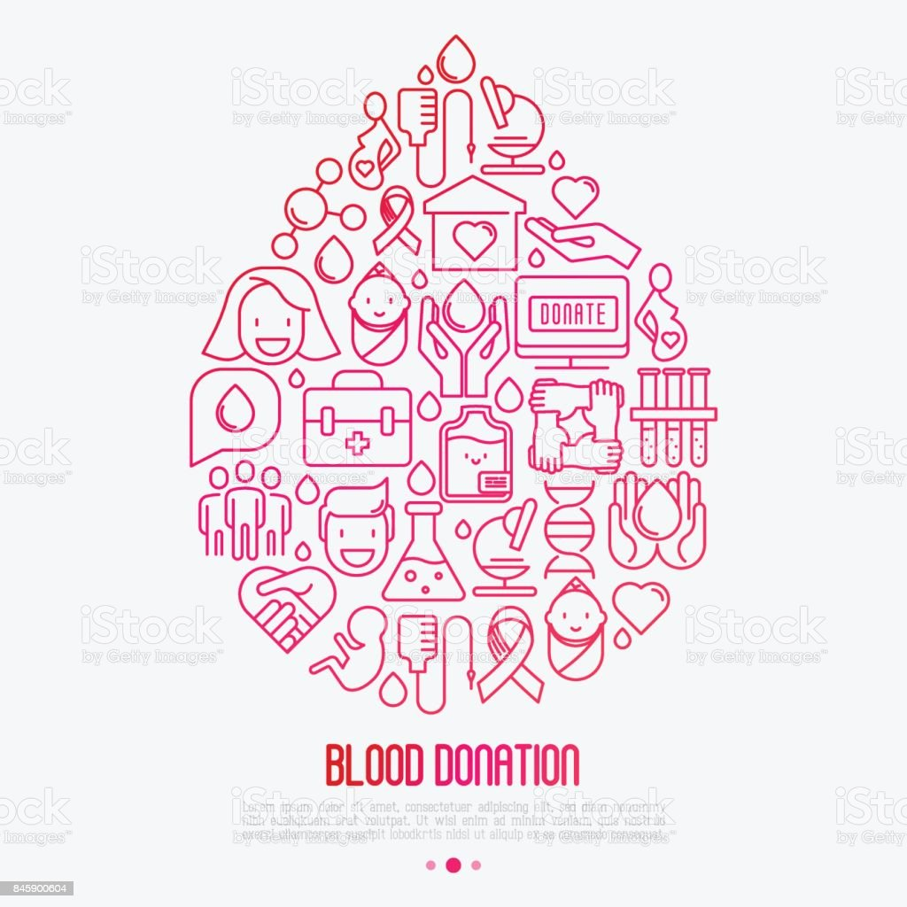 Blood donation concept: drop of blood from thin line icons. World blood donor day. Vector illustration for web page, banner, print media. vector art illustration