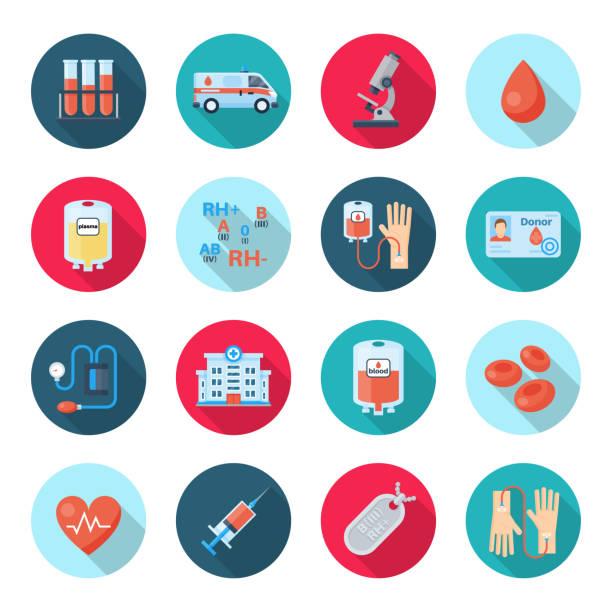 Conjunto de ícones de doação de sangue - ilustração de arte em vetor