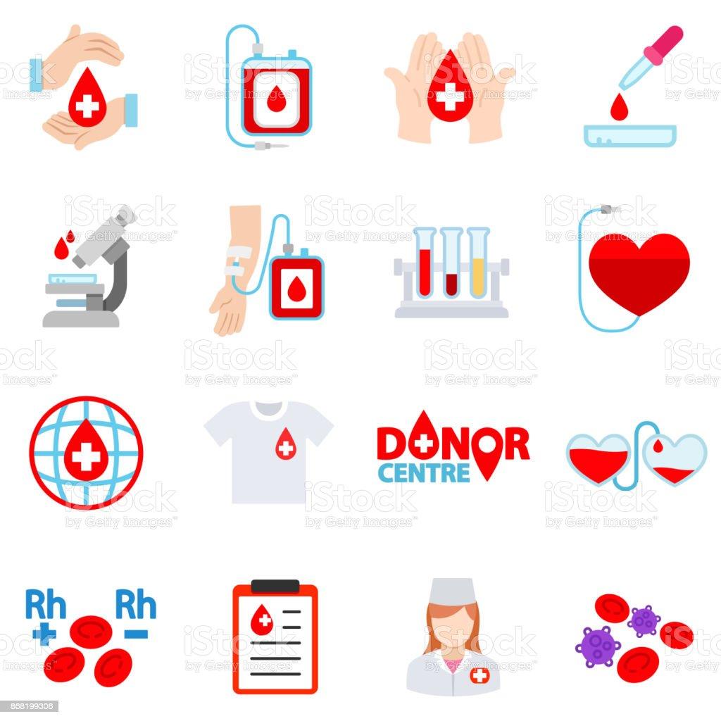 Blood donation icon set. vector art illustration