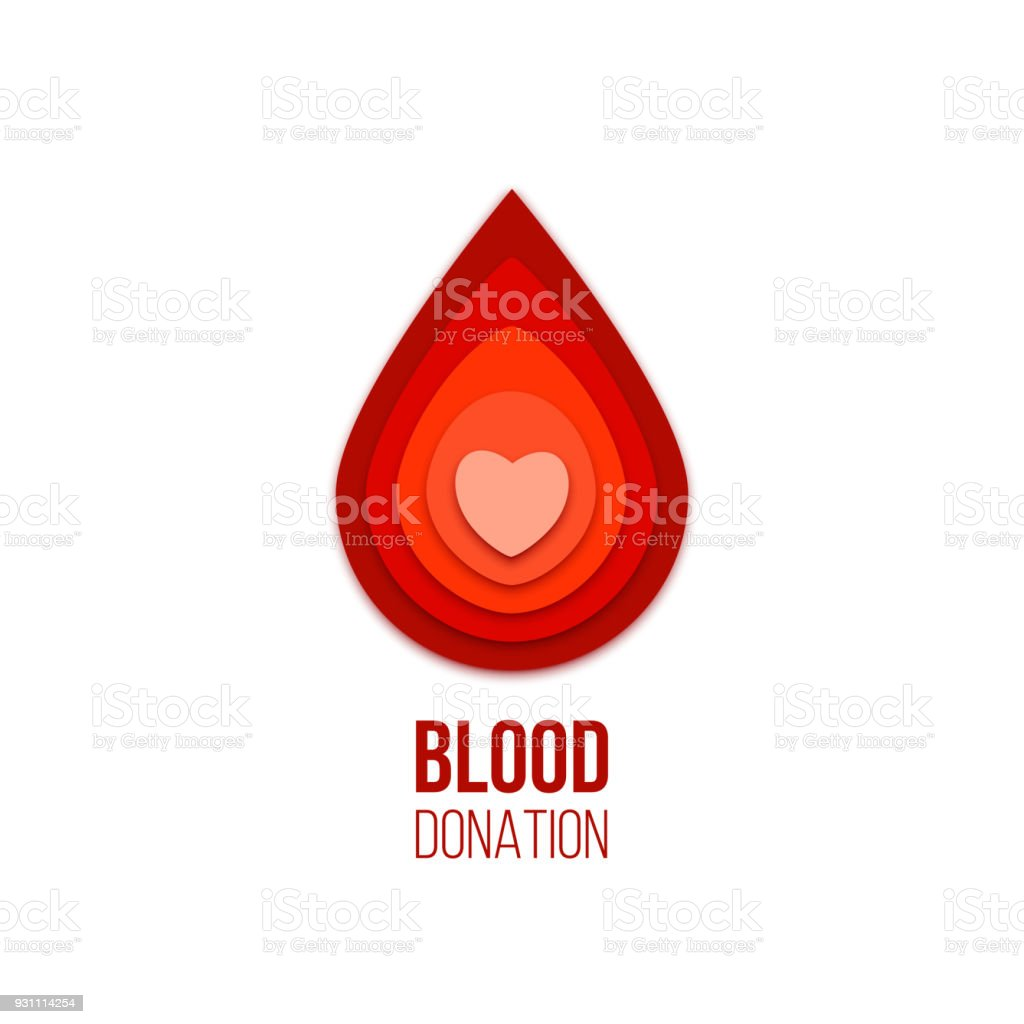 Blood donation icon. Vector red blood drop with heart inside. vector art illustration