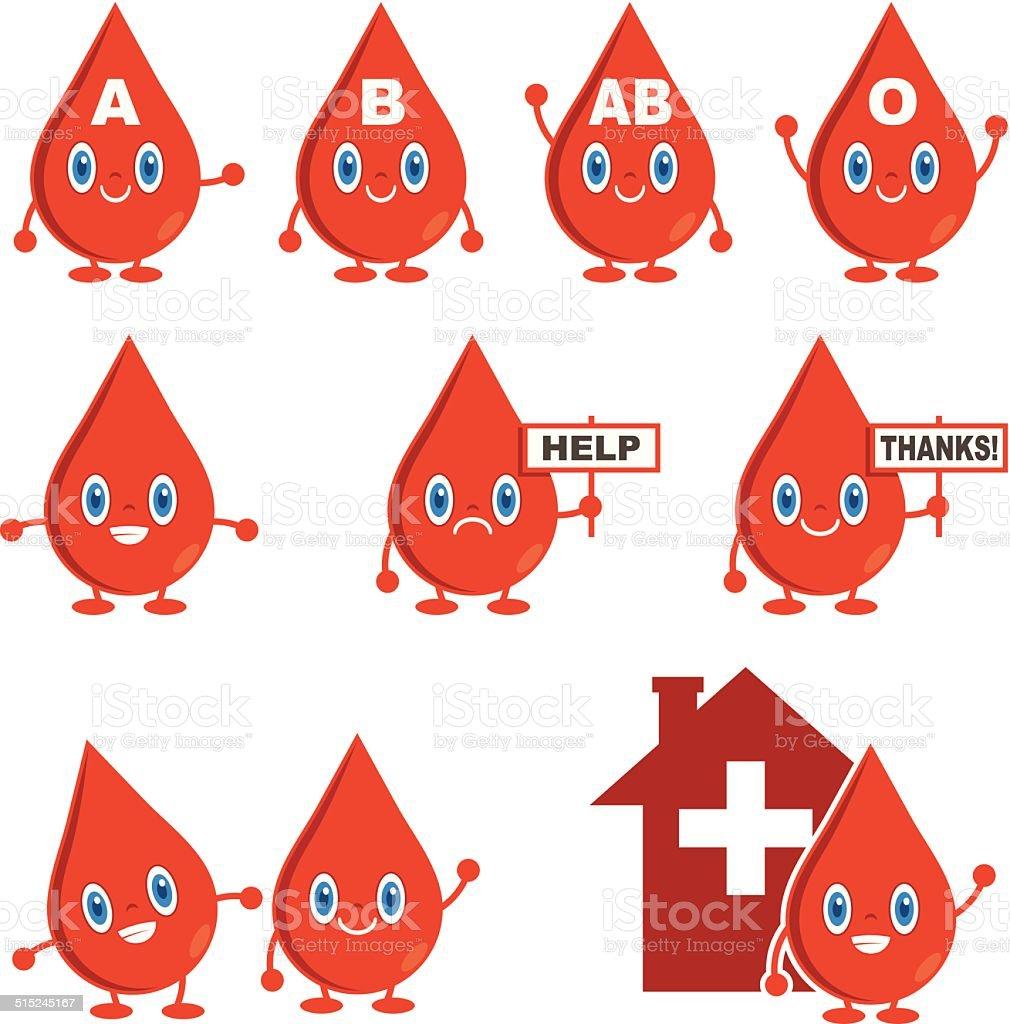 Blood Donation Icons vector art illustration