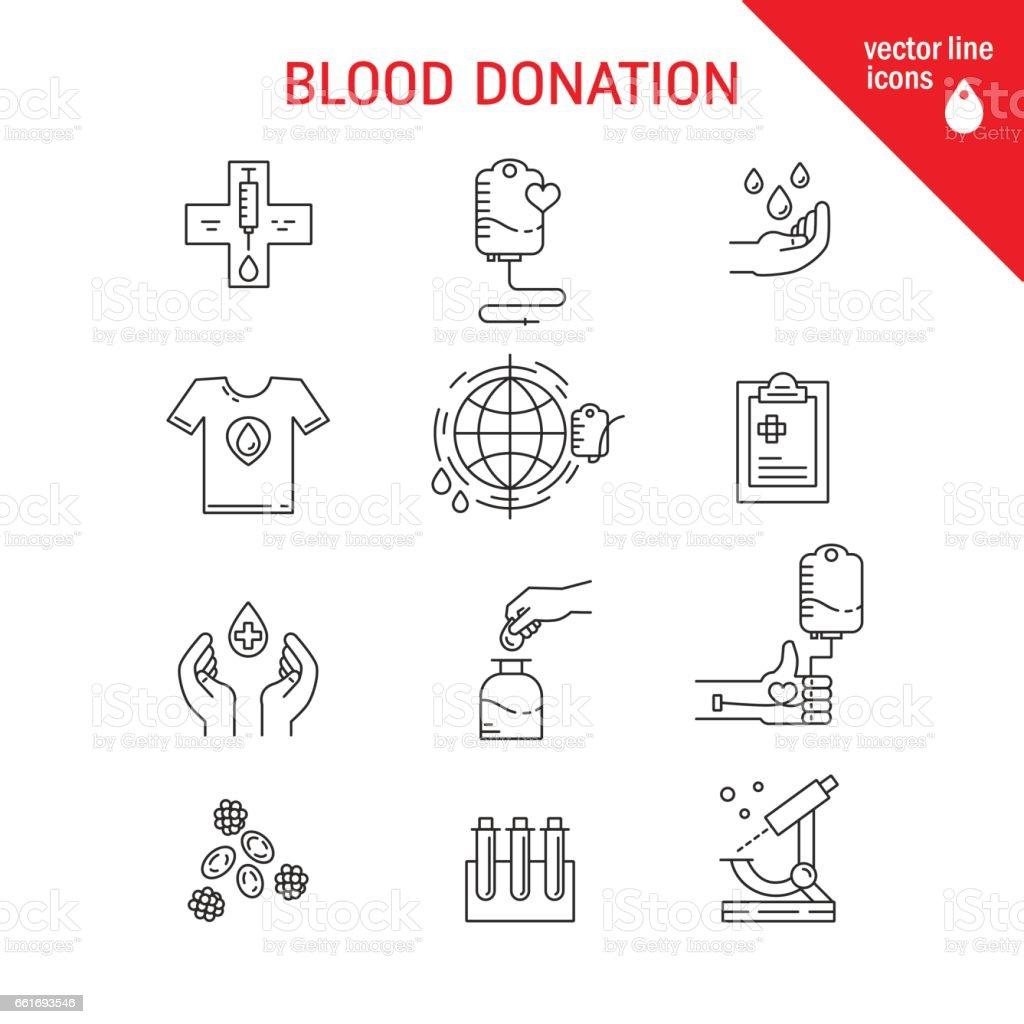 Blood donation icons vector art illustration