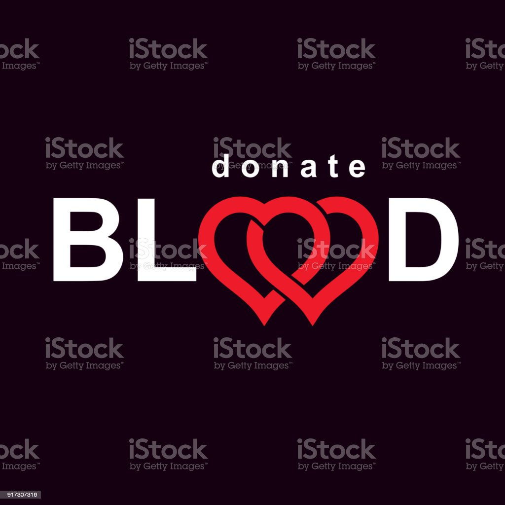 Blood donation metaphor, heart shape and blood drops. Medical theme vector graphic symbol. vector art illustration