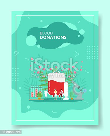 istock blood donation people standing front blood pack for template of banners, flyer, books cover, magazines 1288582724