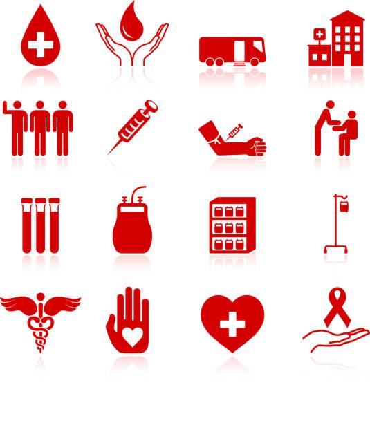 Doação de sangue ícone conjunto de vetor royalty free - ilustração de arte em vetor