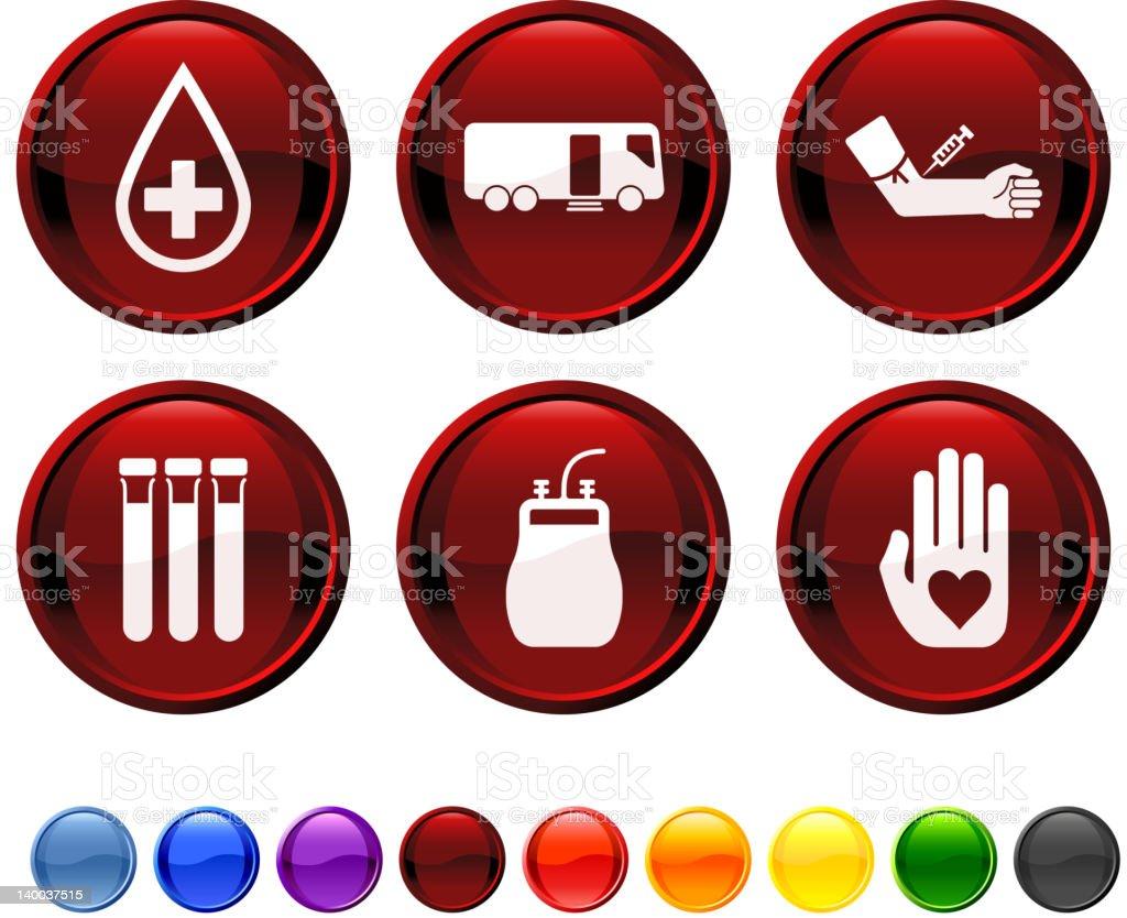 La donación de sangre conjunto de iconos vectoriales sin royalties - ilustración de arte vectorial