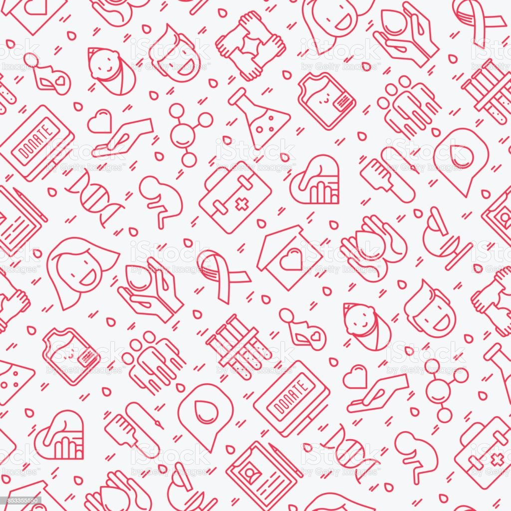 Blood donation seamless pattern with thin line icons. World blood donor day. Vector illustration for web page, banner, print media. vector art illustration
