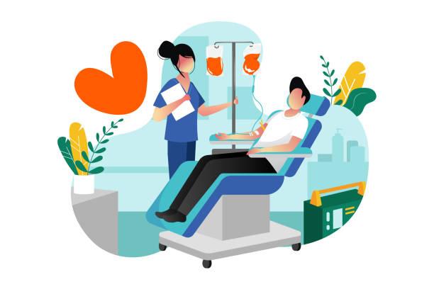 ilustrações de stock, clip art, desenhos animados e ícones de blood donation, transfusion. vector cartoon illustration. volunteer male donor donating blood in hospital laboratory - blood donation