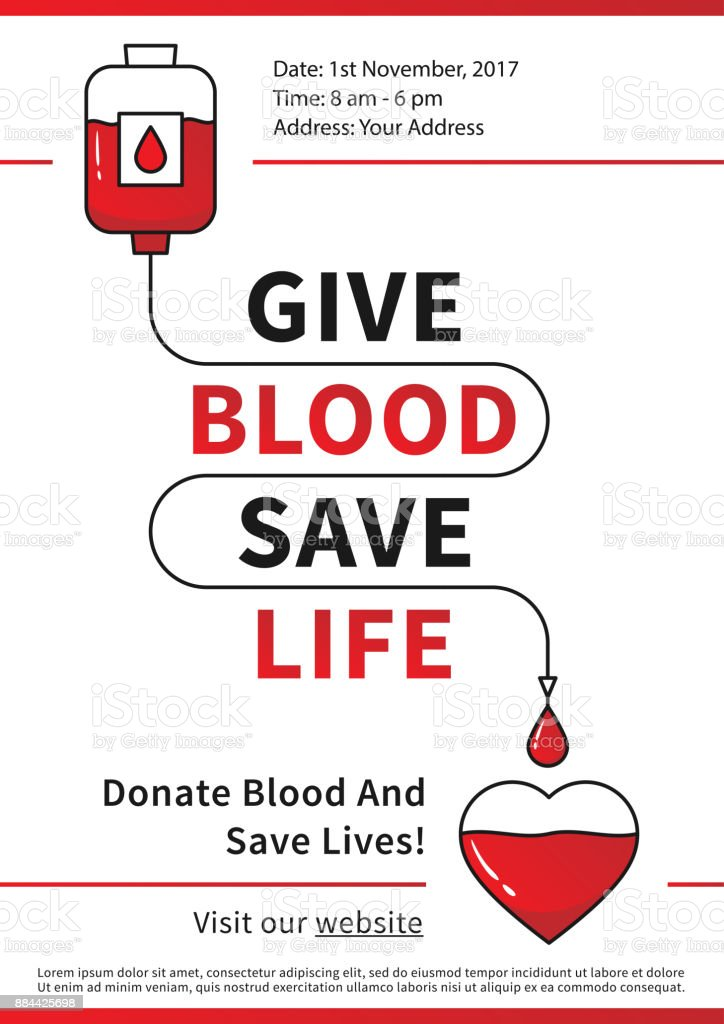 Blood Donation vector illustration with red heart and drop counter vector art illustration