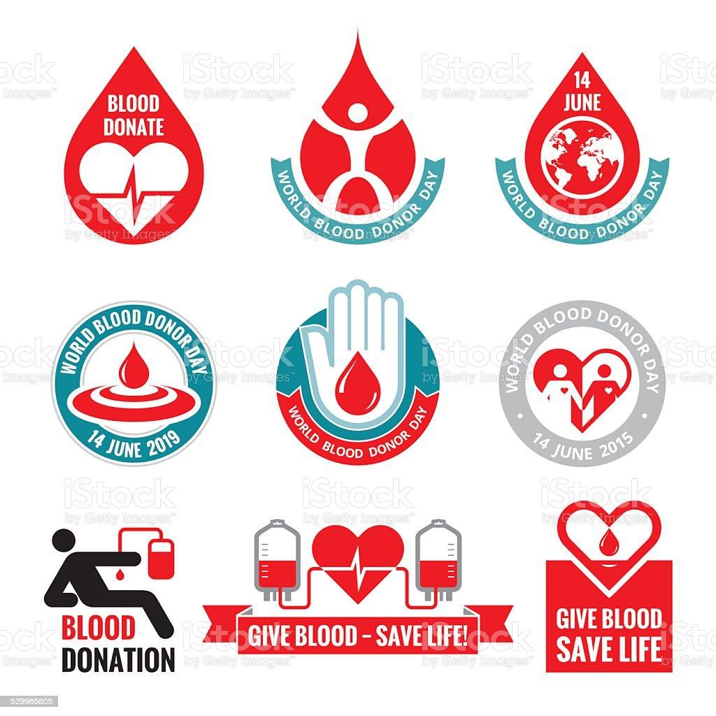 Doação de sangue-vetor logotipo coleção de distintivos. Dia Mundial do Dador de Sangue - ilustração de arte em vetor