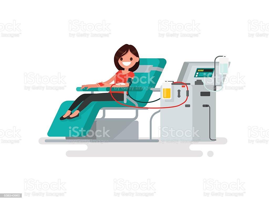 La donación de sangre. Mujer dona el sangre. Ilustración vectorial - ilustración de arte vectorial