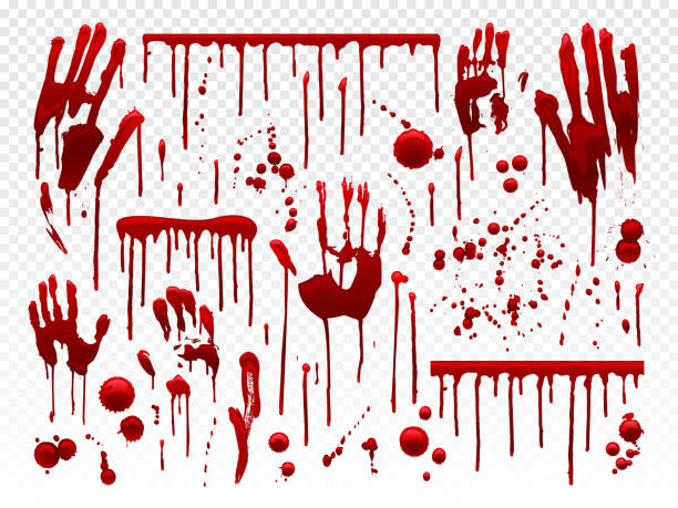 Blood drip. Red paint splash, halloween bloody splatter spots and bleeding hand traces. Dripping bloods horror texture vector set vector art illustration